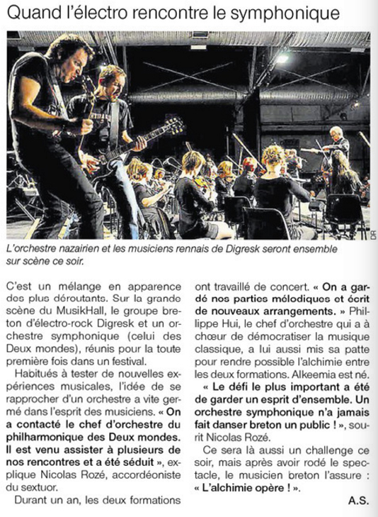 Ouest France 21.11.2015 Article